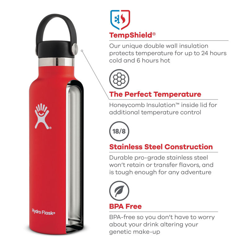 Buy Hydro Flask 620ml Reusable Water Bottle - White | Benny's Boardroom
