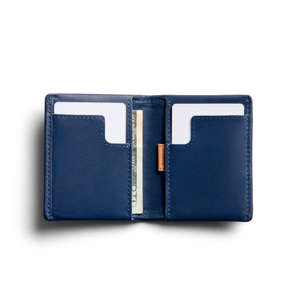 Shop Bellroy Slim Sleeve Leather Wallet - Marine Blue Open | Benny's Boardroom