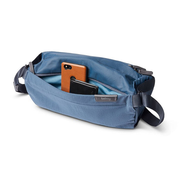 Shop Bellroy Sling Bag 7L - Marine Blue Open Front Pocket | Benny's Boardroom