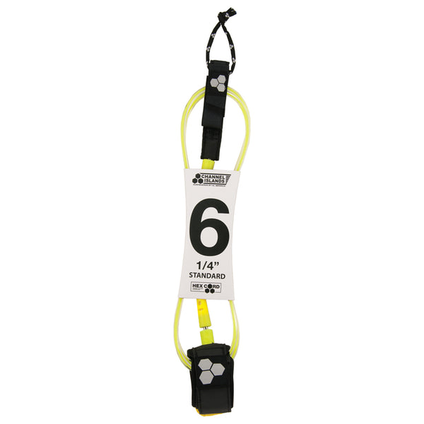 Shop Channel Islands Hex Cord 6' Standard Leash - Fluoro Yellow Online Australia | Benny's Boardroom
