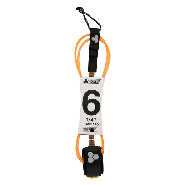 Shop Channel Islands Hex Cord 6' Standard Leash - Orange Online Australia | Benny's Boardroom
