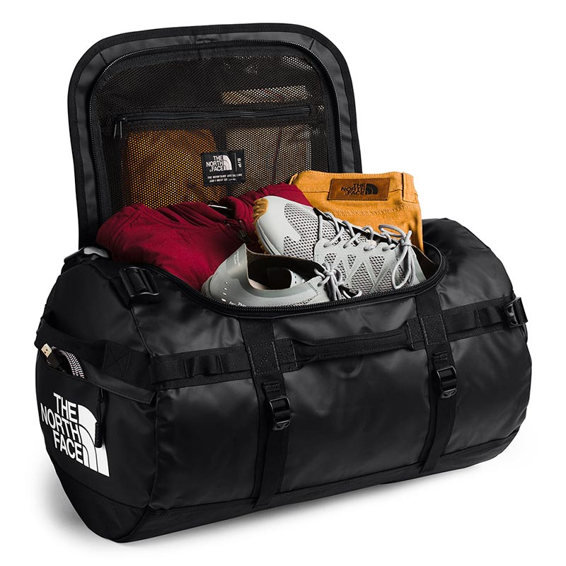 Shop The North Face Base Camp Duffel Bag 50L (S) - TNF Black/TNF White Open Main Compartment | Benny's Boardroom