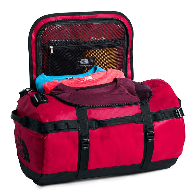 Shop The North Face Base Camp Duffel Bag 50L (S) - TNF Red/TNF Black Main Compartment Open | Benny's Boardroom