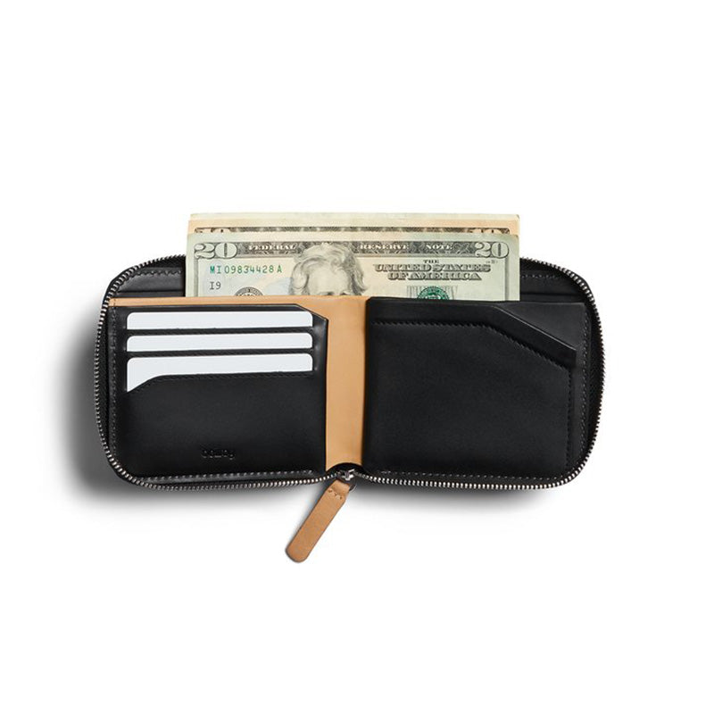 Shop Online Bellroy Zip Wallet - Black USD Currency | Benny's Boardroom