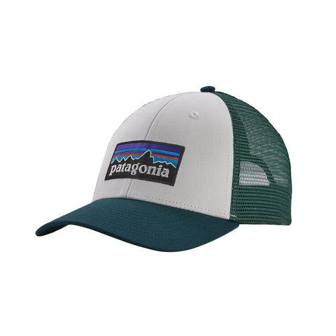 Shop Online Patagonia P-6 Logo LoPro Trucker Hat - White/Piki Green 38016 WHPG | Benny's Boardroom