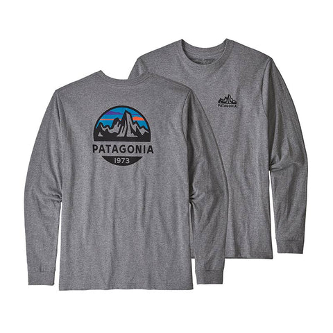 Shop Patagonia Men's L/S Fitz Roy Scope Responsibili-Tee Online - Gravel Heather | Benny's Boardroom