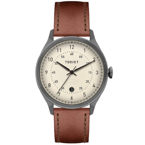 Shop TSOVET SVT-RM40 40mm Watch - Gunmetal/Cream/Tan | Benny's Boardroom
