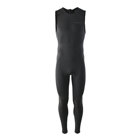 Shop Patagonia Men's R1 Yulex Lite 2mm Long John Wetsuit - Black Front | Benny's Boardroom