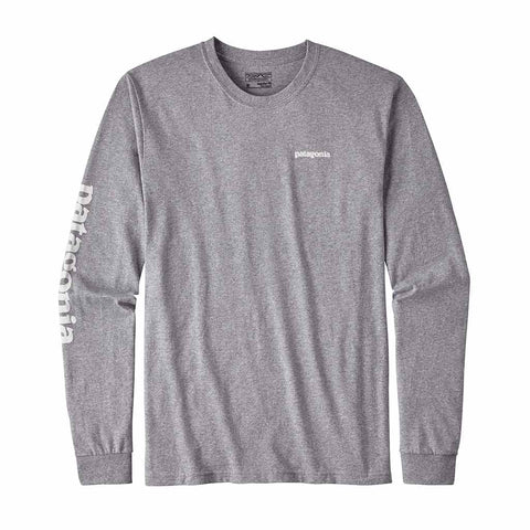 Shop Patagonia Mens L/S Text Logo Responsibili-Tee  Drifter Grey | Benny's Boardroom