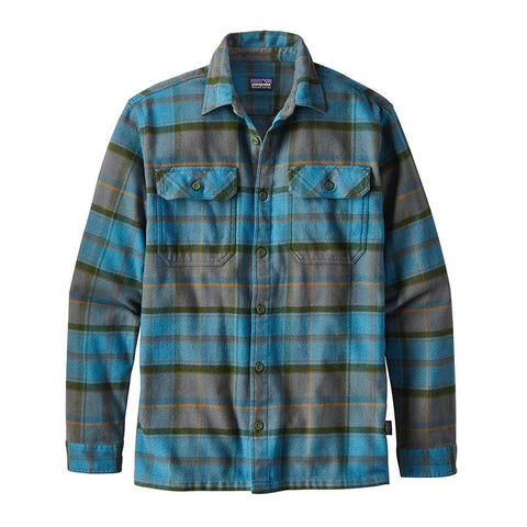 Shop Patagonia Men's L/S Fjord Flannel Shirt - Buckstop Plaid: Filter Blue | Benny's Boardroom