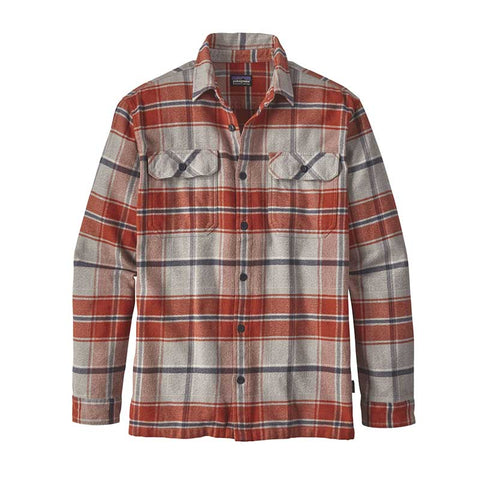 Shop Patagonia Men's L/S Fjord Flannel Shirt - Buckstop Plaid: Roots Red | Benny's Boardroom