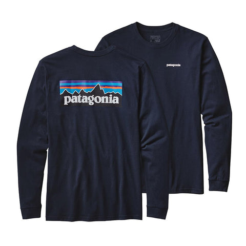 Shop Patagonia Mens Long Sleeve P-6 Logo T-Shirt - Navy Blue | Benny's Boardroom