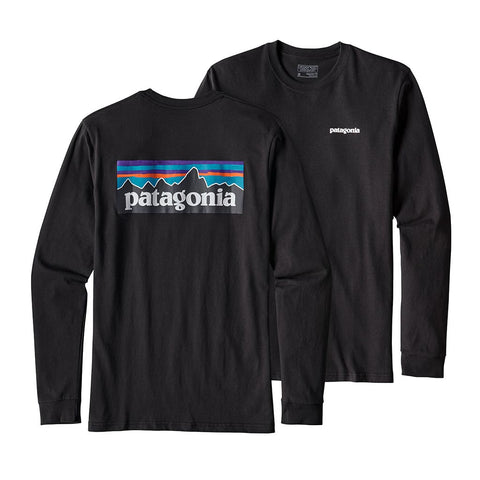 Shop Patagonia Mens Long Sleeve P-6 Logo T-Shirt - Black | Benny's Boardroom