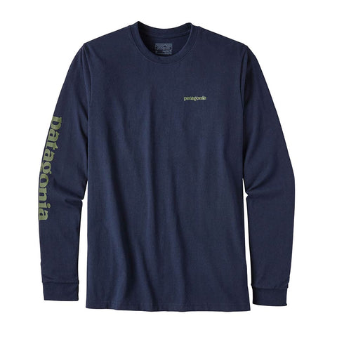 Shop Patagonia Mens L/S Text Logo Responsibili-Tee  Navy Blue | Benny's Boardroom