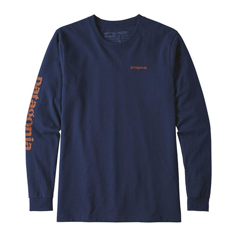 Shop Patagonia Men's L/S Text Logo Cotton/Poly Responsibili-Tee - Classic Navy | Benny's Boardroom
