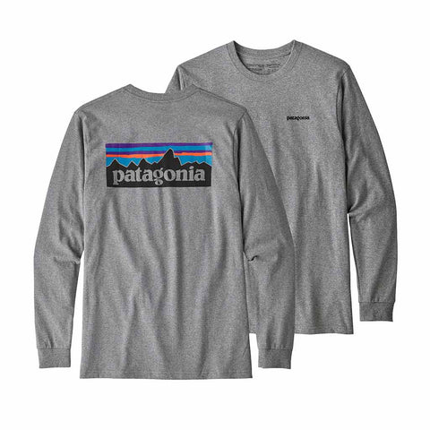Sale Patagonia Men's L/S P-6 Logo Responsibili-Tee - Gravel Heather | Benny's Boardroom