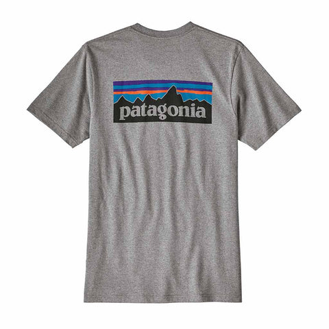 Shop Patagonia Men's P-6 Logo Responsibili-Tee - Gravel Heather | Benny's Boardroom