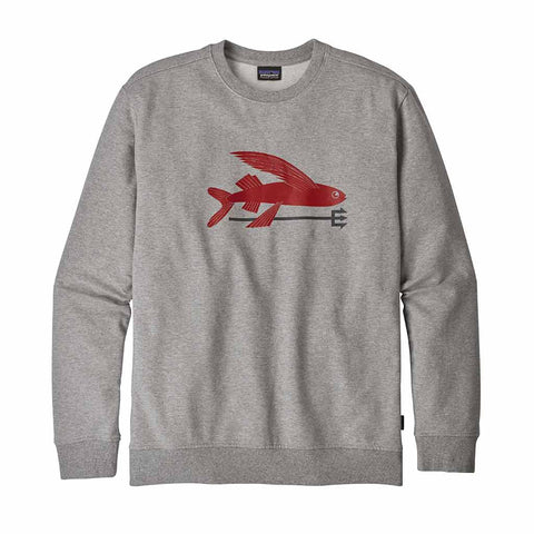 Shop Patagonia Men's Flying Fish Midweight Crew Sweatshirt - Feather Grey w/Classic Red | Benny's Boardroom