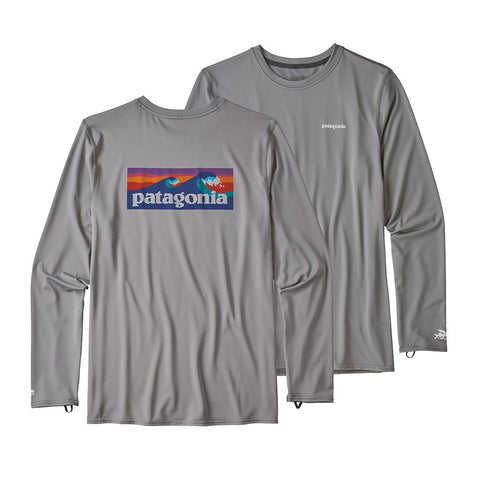 Shop Patagonia Men's L/S R0 Sun Tee - Boardshort Logo: Feather Grey | Benny's Boardroom