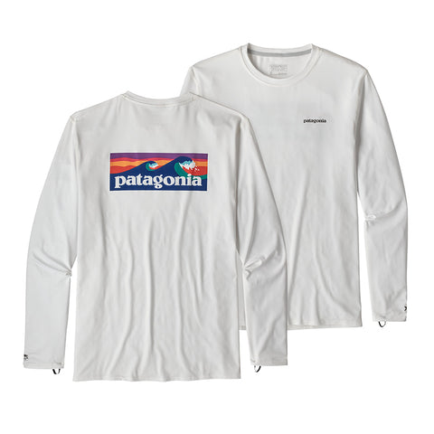 Shop Patagonia Men's Long Sleeve R0 Sun Tee Online - Boardshort Logo/White | Benny's Boardroom