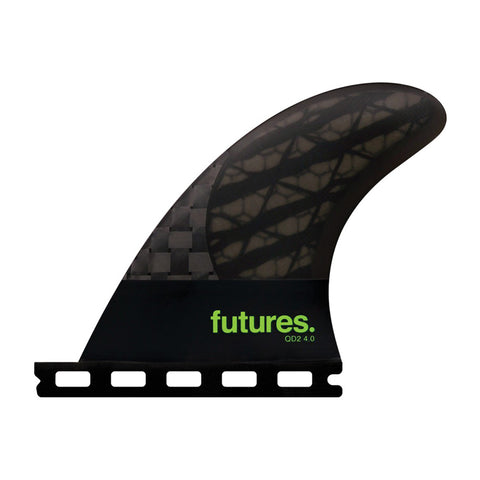 Buy Futures Fins QD2 4.0 Blackstix (M) Quad Rear Fins Online - Smoke/Light Green | Benny's Boardroom