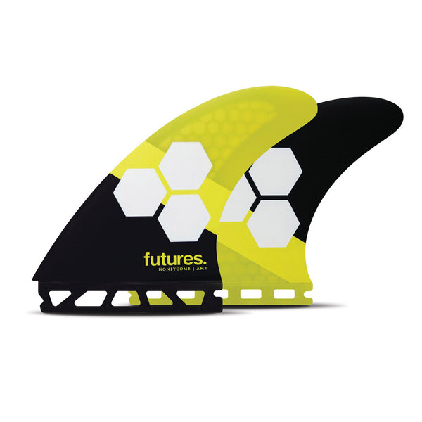 Shop Futures Fins AM2 Honeycomb Large Thruster Fins - Black/Yellow | Benny's Boardroom