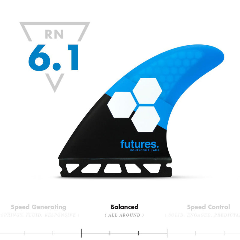 Buy Futures Fins AM1 Honeycomb MEDIUM Thruster Fin Set Online - Blue/Black | Benny's Boardroom