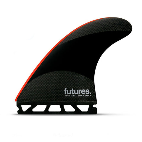 Shop Futures Fins John John Florence Signature Techflex Large Thruster Fins - Black/Bright Red | Benny's Boardroom