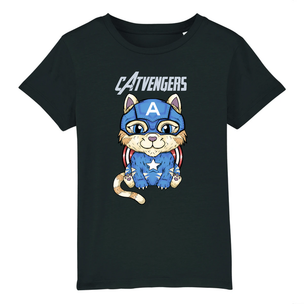 T-shirt Enfant Catvengers CaptainCat Black Edition - Billie Gio