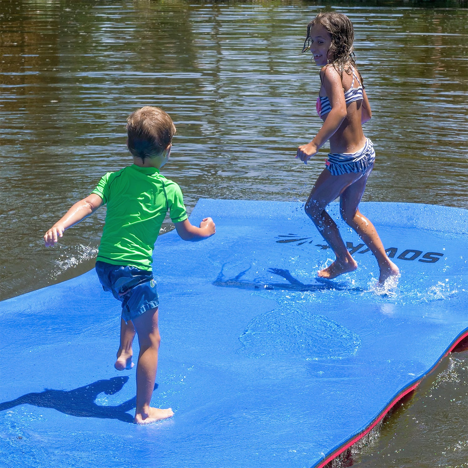 Floating Island For Lakes or Pools - 12 X 6 FEET (RED/BLACK/BLUE)