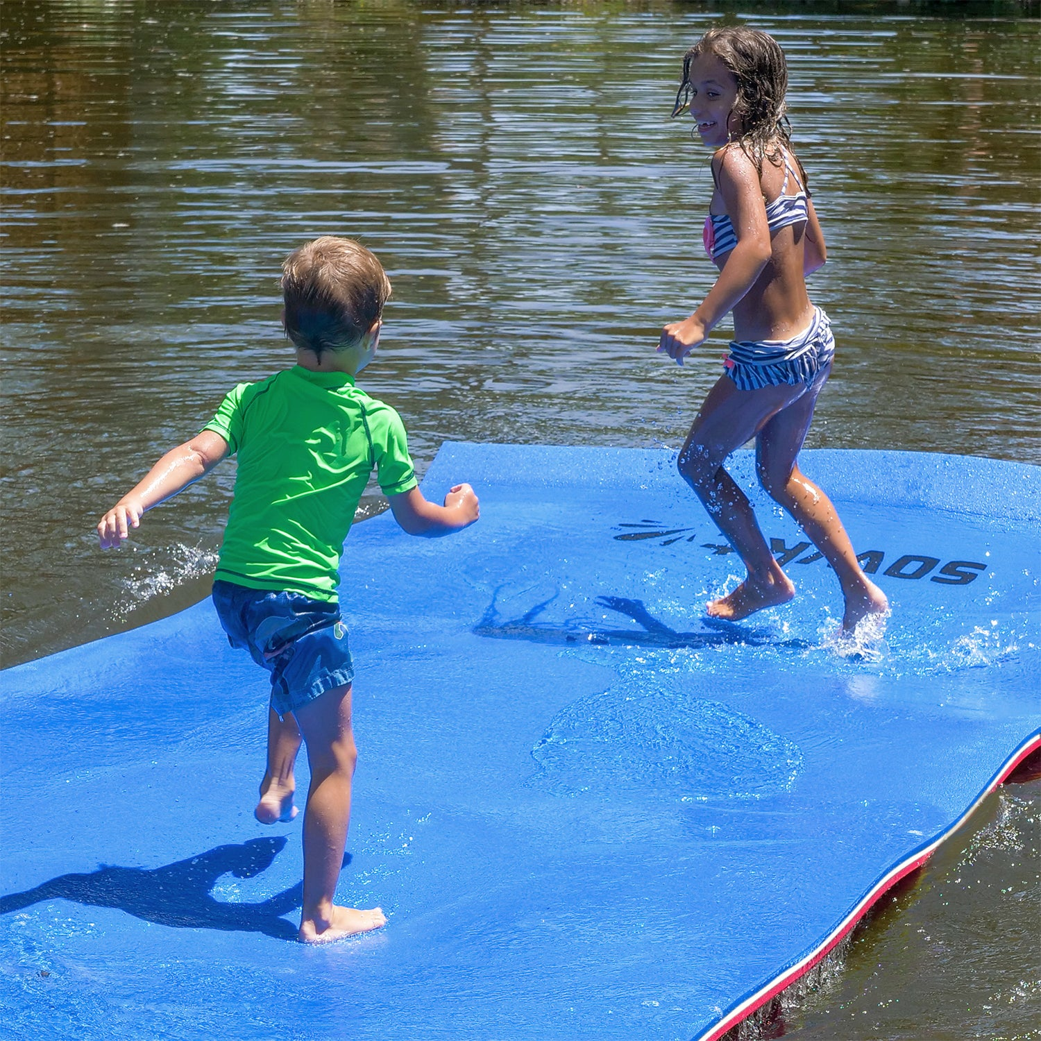 Floating Island For Lakes or Pools - 12 X 6 FEET (BLUE/WHITE/RED)