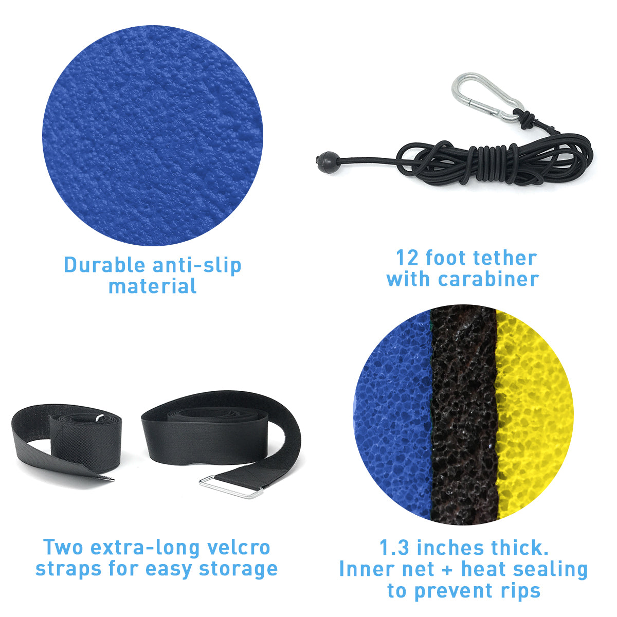 Floating Island For Lakes or Pools - 18 X 6 FEET (BLUE/BLACK /YELLOW)