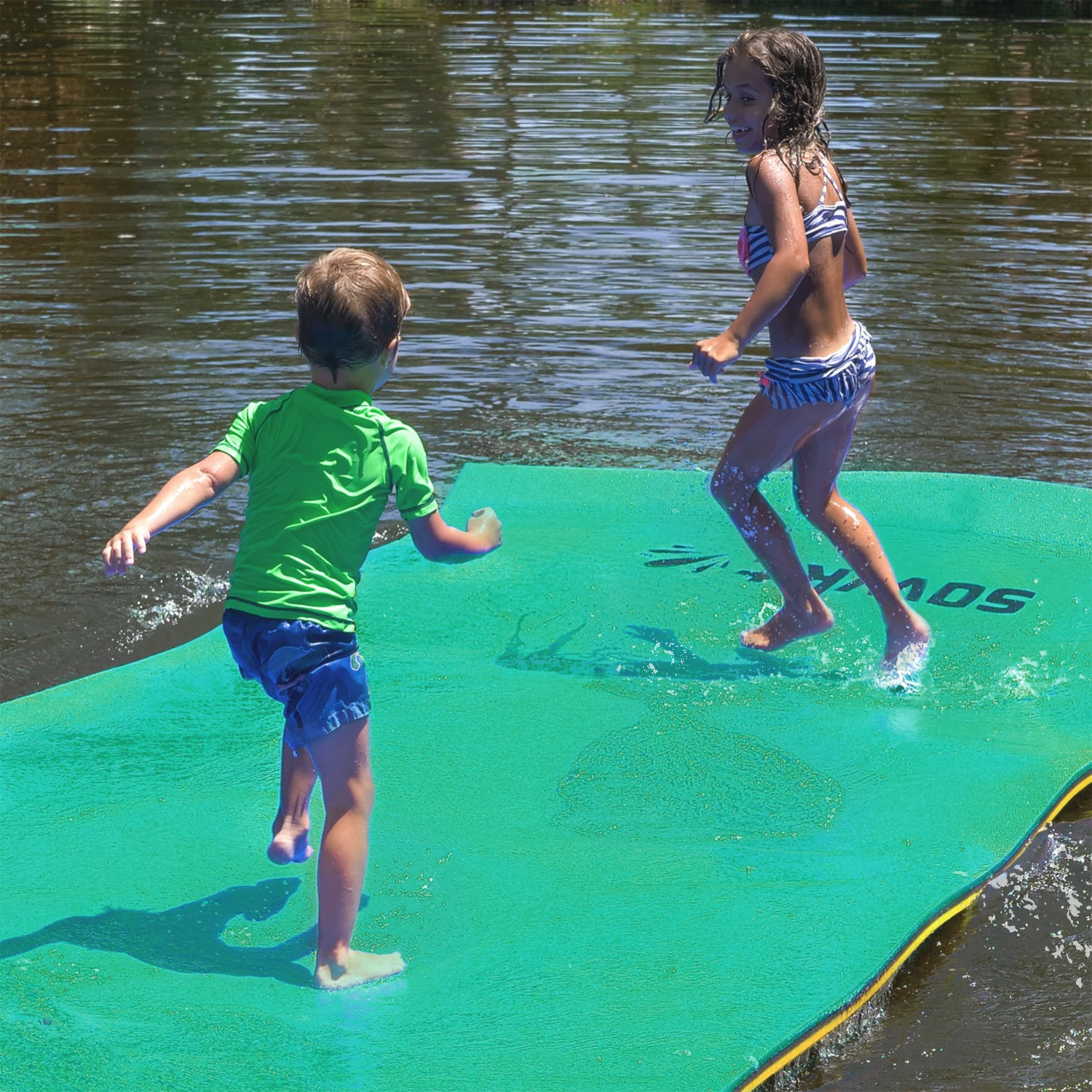Floating Island For Lakes or Pools - 12 X 6 FEET (GREEN/BLACK/YELLOW)