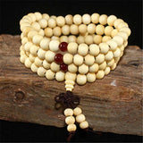 White Mala Beads & Bracelets | 108 Wooden Beads Mala for Yoga/Meditation/Fashion