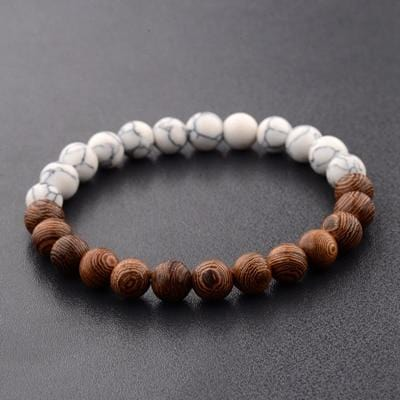 Natural Wooden Beaded Bracelets | Bracelets with Charm and Chakra Healing Stones Unisex