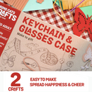 Art and Craft DIY Activity Kit - Butterfly Keychain and Case with Crafty Flowers and Strings