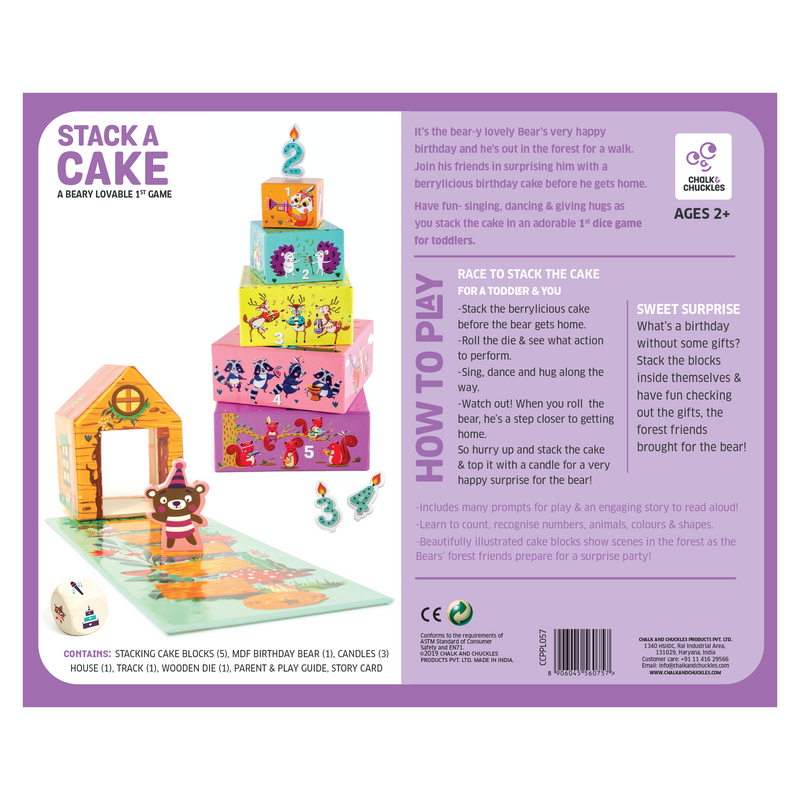 Stack a Cake, First Stacking Board Game, Roll and Play-Sing and Dance