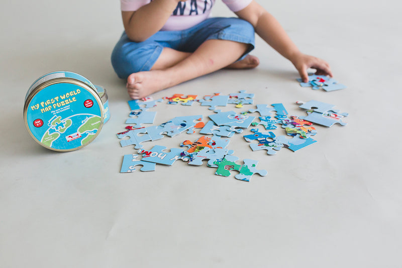 World Map Jigsaw Puzzle 30 pcs 2in1 Colouring Puzzle