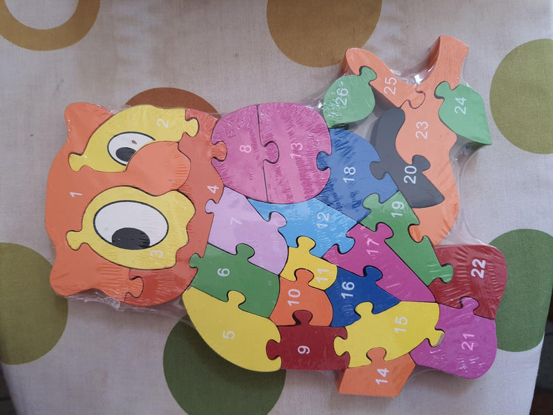 Learn alphabets and numbers with wooden jigsaw puzzle (Owl)