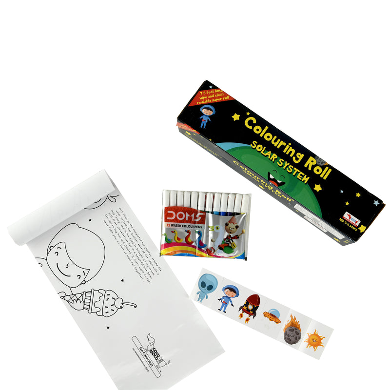 Solar System Colouring Roll Story Book with Crayons