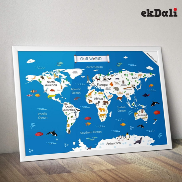 World Map Continents and Oceans | 12 X 19 Inches