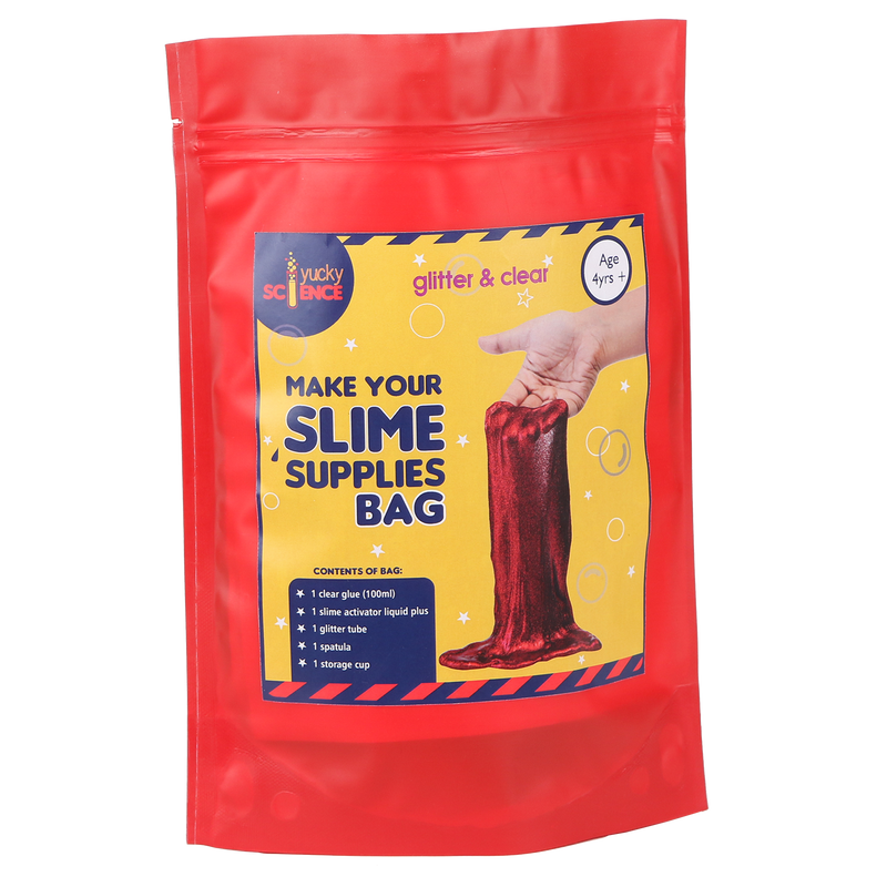 Birthday Gift Set -Slime Making Supplies Bag- Glitter and Clear. 10 Bags