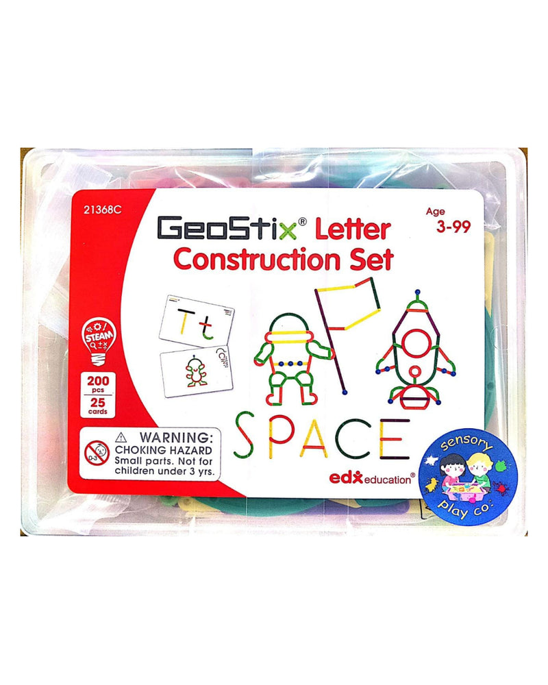 Geostix Letter Construction Set (200 flexible sticks, 25 double-sided Activity cards)
