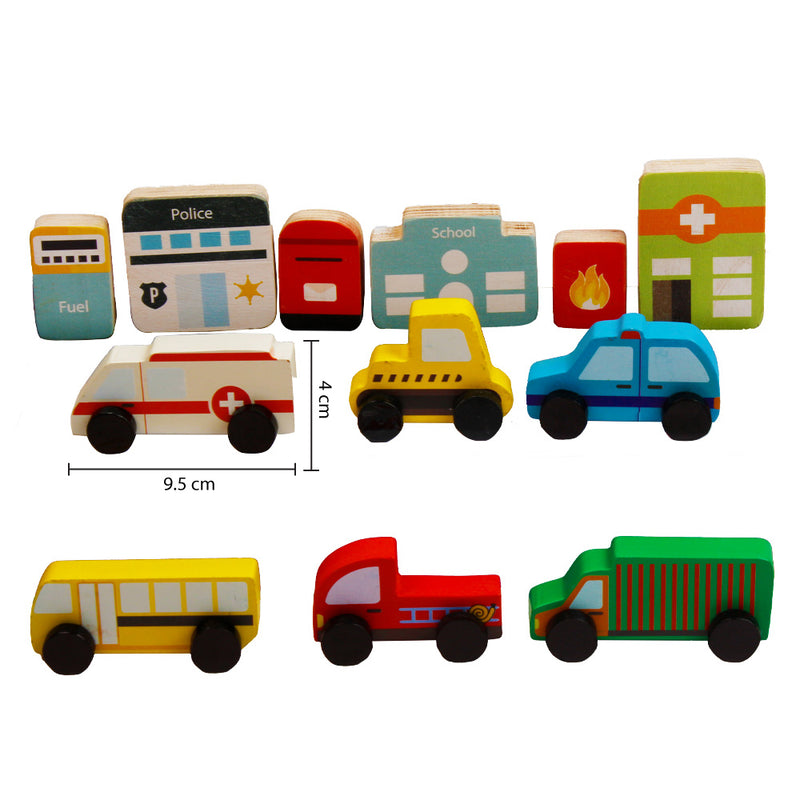 Community Vehicles & Buildings - Set Of 12 Pieces