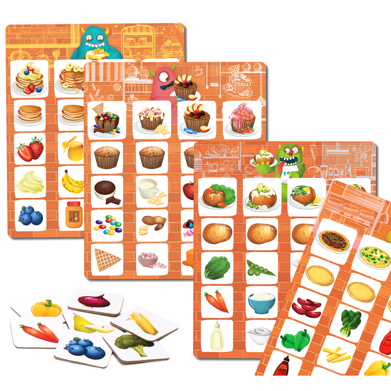 Lettuce Play- Picture Food Bingo, Matching and Memory Preschooler Game
