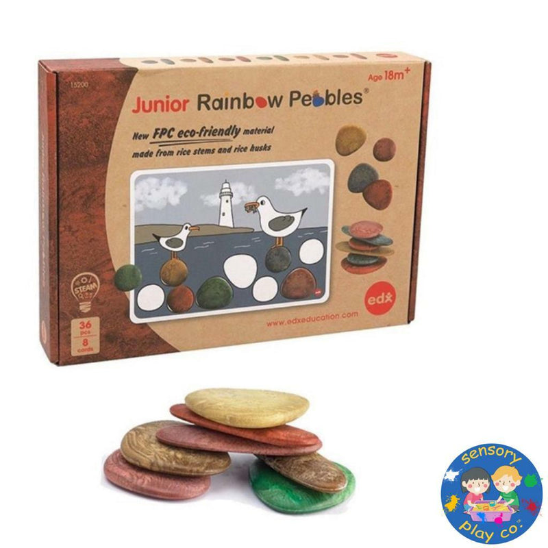 Eco-Friendly Junior Rainbow Pebbles (36 pebbles, 8 double-sided Activity cards)