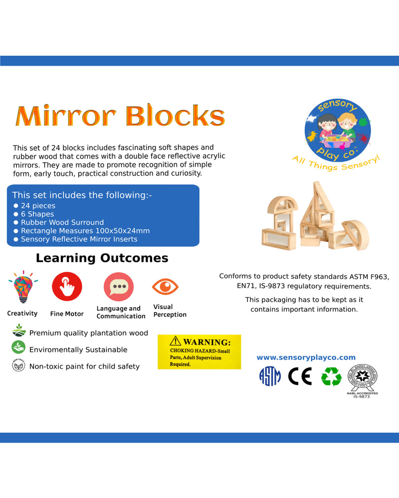 Mirror Blocks (24 pcs) | Wooden Reflective Mirror Blocks