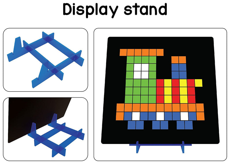 Magnetic Puzzles : Squares with 250 Colorful Magnets, 100 Puzzle Book, Magnetic Board and Display Stand
