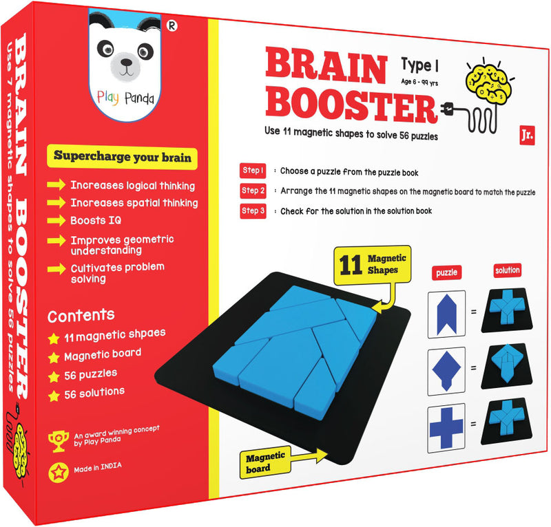 Brain Booster Type 1 (junior) - 56 puzzles designed to boost intelligence - with Magnetic Shapes, Magnetic Board, Puzzle Book and Solution Book