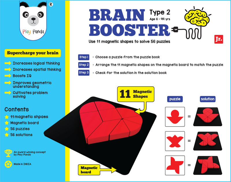 Play Panda Brain Booster Type 2 (junior) - 56 puzzles designed to boost intelligence - with Magnetic Shapes, Magnetic Board, Puzzle Book and Solution Book